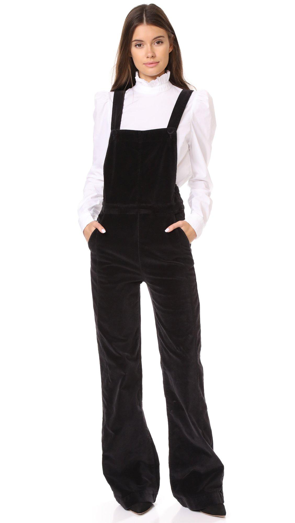 FRAME Women's Velveteen Overalls, Charcoal, Medium