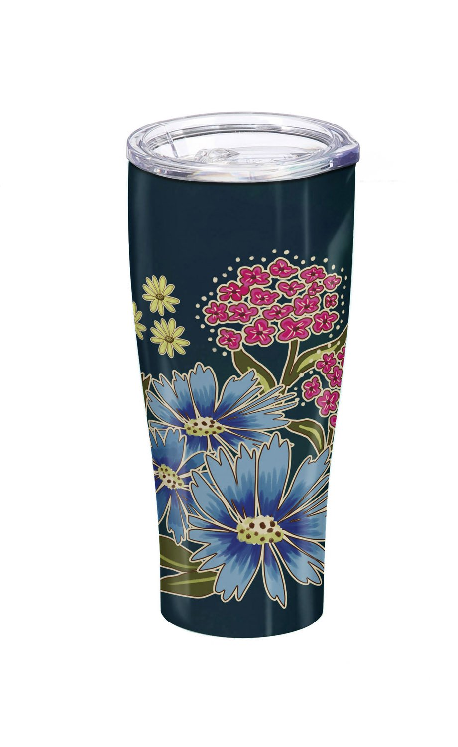 Cypress Home Green Floral Garden Stainless Steel Hot Beverage Travel Cup, 17 ounces