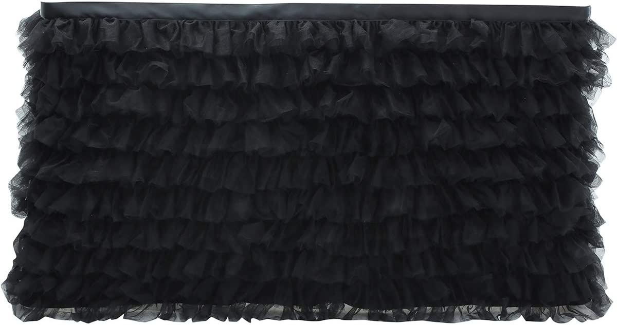 Cidyrer 6ft Black Tulle Table Skirt Colorful Tutu Table Cover Cloth for Rectangle Table or Round Table for Baby Shower Birthday, Wedding, Party Decoration