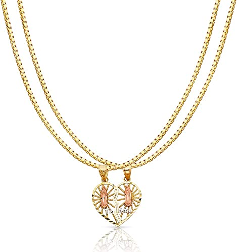 14K Two Tone Gold Praying Hands Pendant with 1.2mm Singapore Chain Chain Necklace