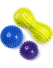Cammate Spiky Massage Balls - 3 Pieces Foot massager Exercise Lacrosse Balls with Spike - Self Trigger Point Roller for Myofascial Release and Plantar Fasciitis - Improve Reflexology and Mobility