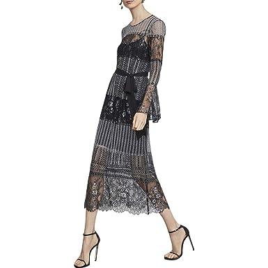 1be1bdc3a Amazon.com: BCBG Max Azria Womens Sheer Floral Midi Dress Black M: Clothing