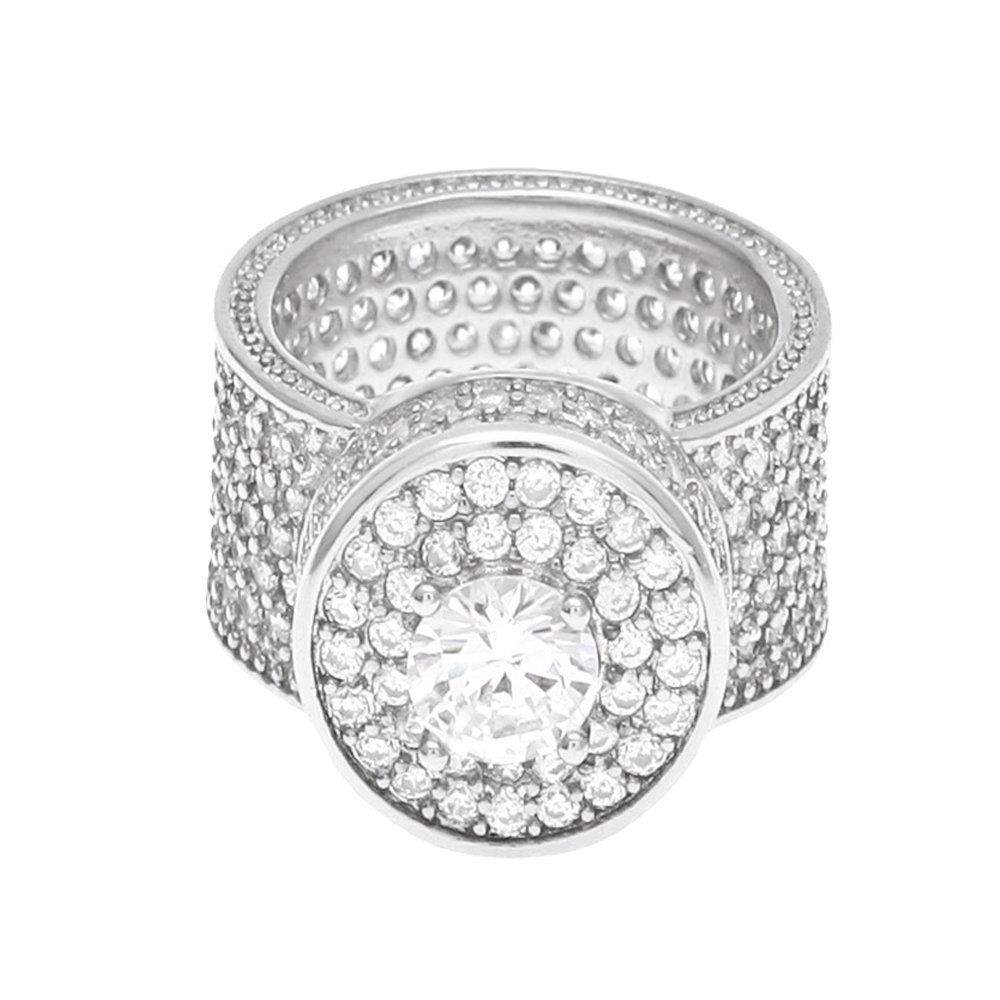 HongBoom Hot Hip Hop Rings 18K Gold Plated CZ CRYSTAL Fully Iced-Out Camera Ring (Silver/US size 9)