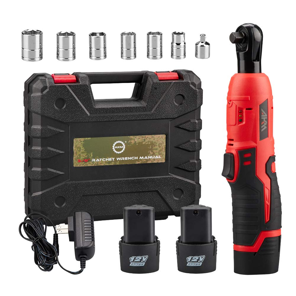 AKM Cordless 3 8 Electric Ratchet Wrench Set,12V Power Ratchet Tool Kit With 2 Packs 2000mAh Lithium-Ion Battery and Charger,6-Piece 3 8 Metric Sockets and 1-Piece 1 4 Socket Adapter
