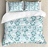 Hawaii Queen Size Duvet Cover Set by Ambesonne, Flower Silhouettes Spring Season Faded Floral Arrangement Blooming Nature, Decorative 3 Piece Bedding Set with 2 Pillow Shams, Pale Blue Turquoise