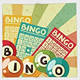 Cotton Microfiber Hand Towel,Vintage Decor,Bingo Game with Ball and Cards Pop Art Stylized Lottery Hobby Celebration Theme,Multi,for Kids, Teens, and Adults,One Side Printing