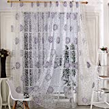 Norbi Floral Tulle Room Window Curtain Sheer Voile Panel Drapes Curtain Purple …