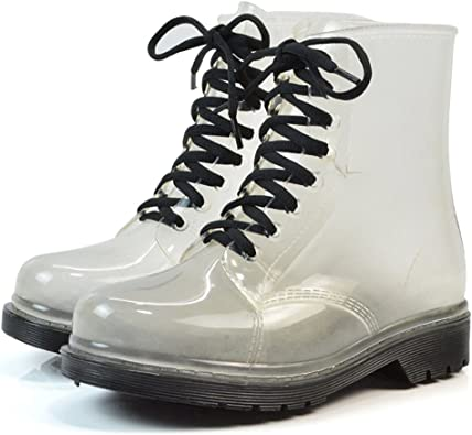 Womens Waterproof Rain Ankle Boots Clear Martin Rain Boots Festival Jelly Wellies Lace-Up Rain Shoes