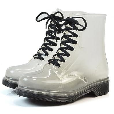 de668fe0dbe8d Women's Waterproof Rain Ankle Boots Clear Martin Rain Boots Festival Jelly  Wellies Lace-Up Rain Shoes
