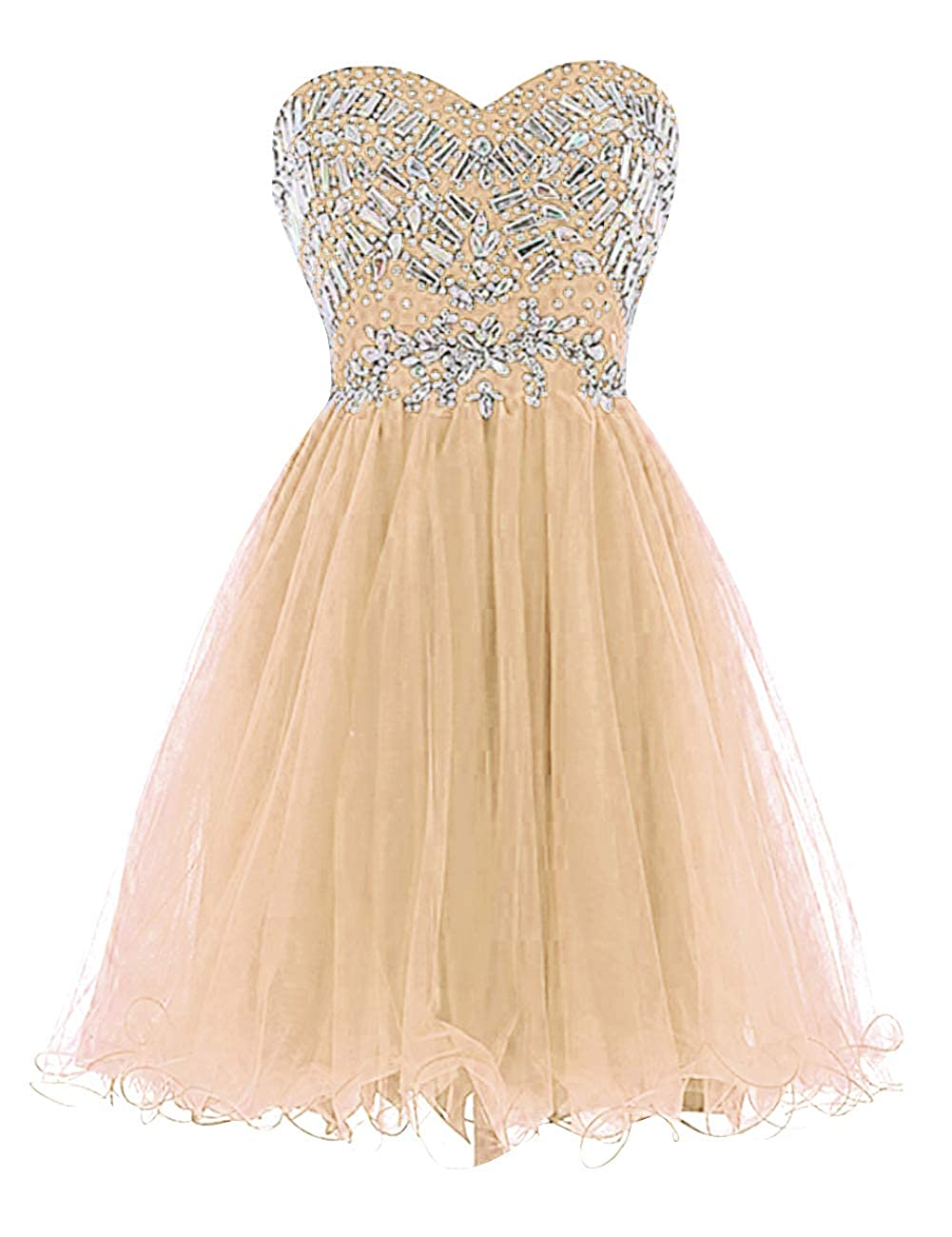 Champagne Uther Sweetheart Cocktail Dresses Tulle Beading Knee Length Homecoming Prom Dress