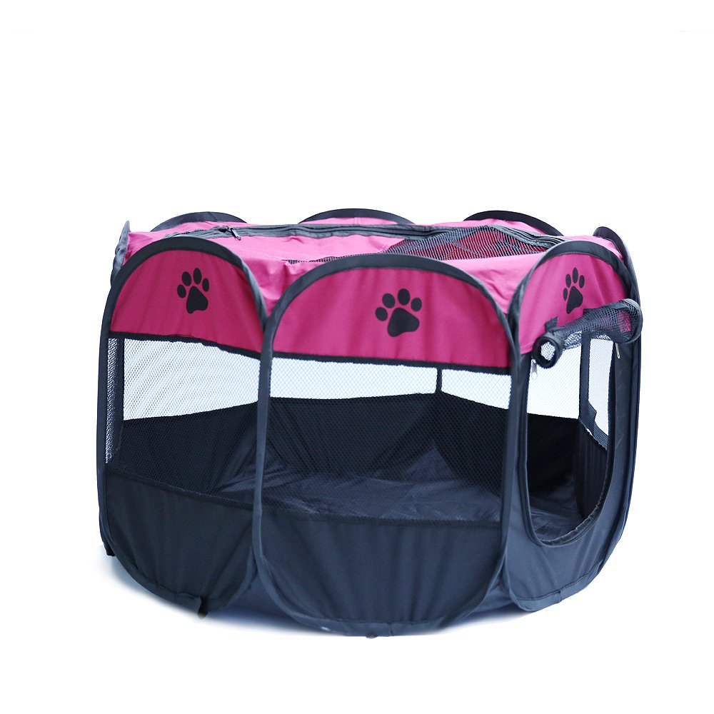 MESASA Portable Foldable Pet Playpen, Indoor/Outdoor, Dog/Cat/Puppy Exercise pen Kennel, Removable Mesh Shade Cover, dog pop up silhouettes pet pen (M, #3)