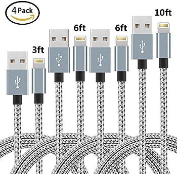 4-Pack Nanming Nylon Braided Lightning Cables (3ft, 10ft, 2x 6ft)