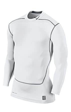 971d282f0f Nike Pro Combat Dri fit compression long sleeve shirt white cool grey Size M