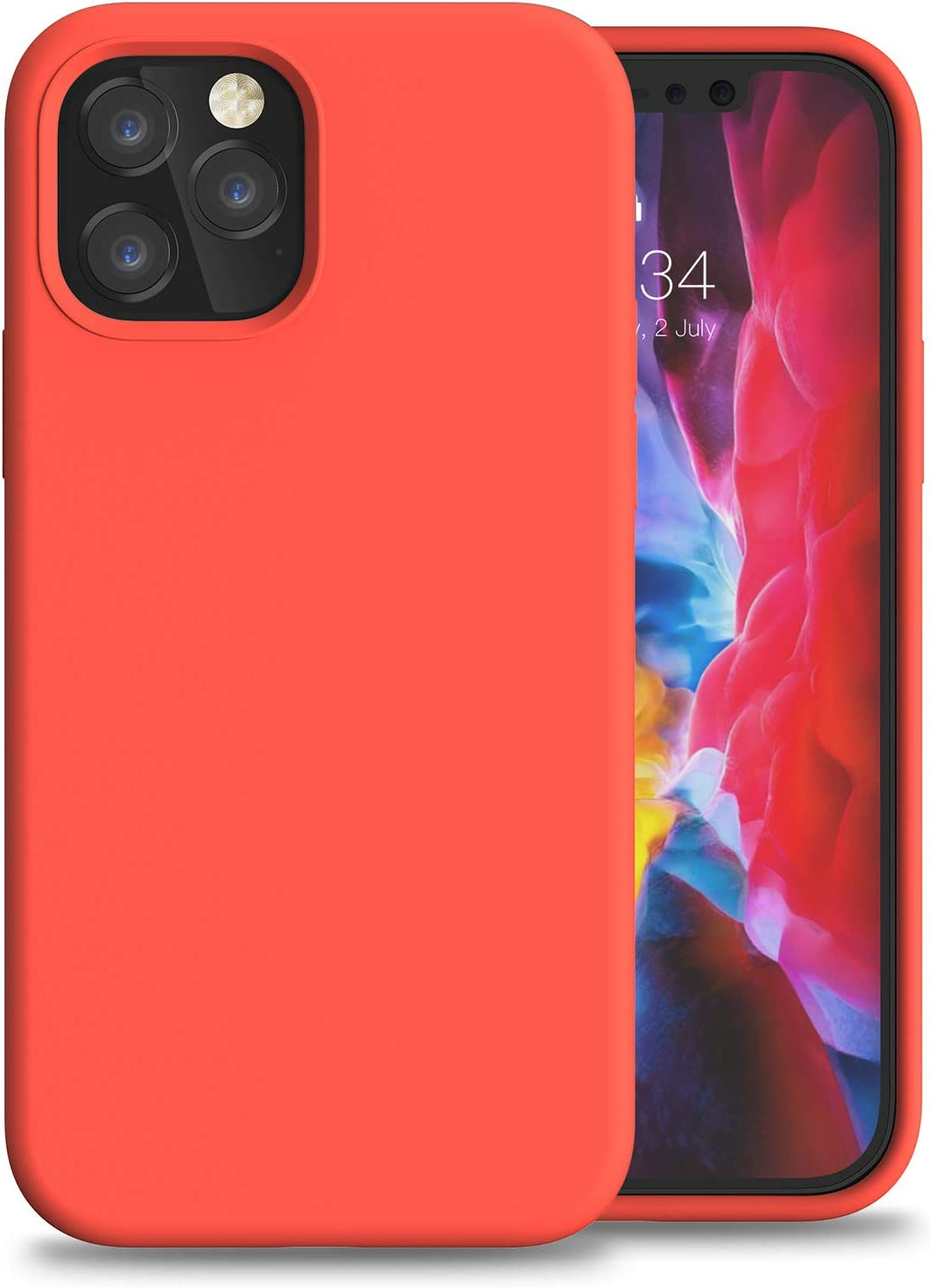 """Anyos Compatible with iPhone 12/12 Pro Silicone Case 6.1"""", Liquid Silicone Gel Rubber Full Body Protection Shockproof Drop Protection Phone Case with Soft Anti-Scratch Microfiber Lining, Coral Red"""