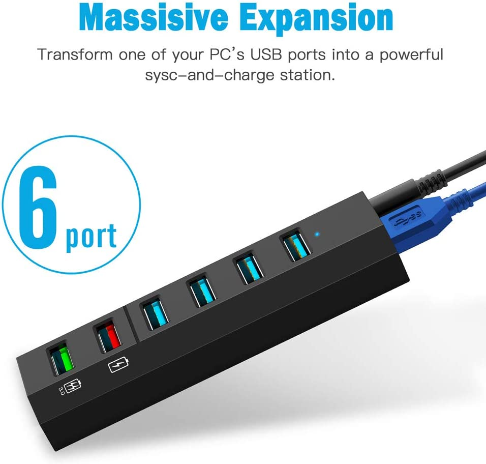 Mulitple Devices Black Smart Fast Charger Powered USB Hub for Laptop USB Hub 10W Power Adapter PC Aiibe 6 Ports Super High Speed USB 3.0 Hub Splitter Mac Mobile HDD USB 3.0 Cable