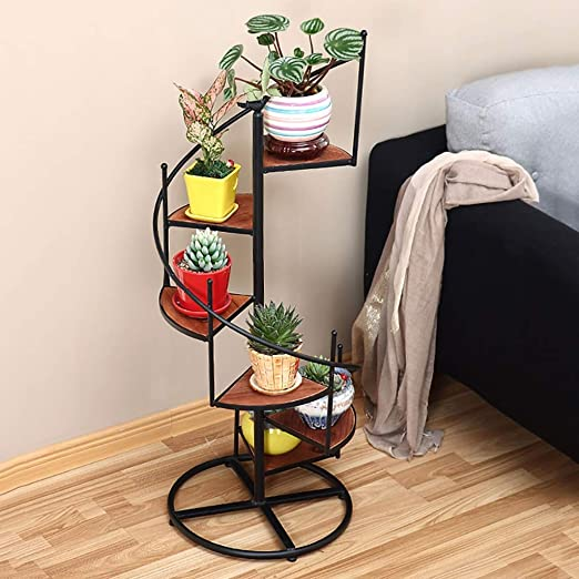 Puesto de plantas Estante para macetas con diseño de escalera de caracol de metal negro estante