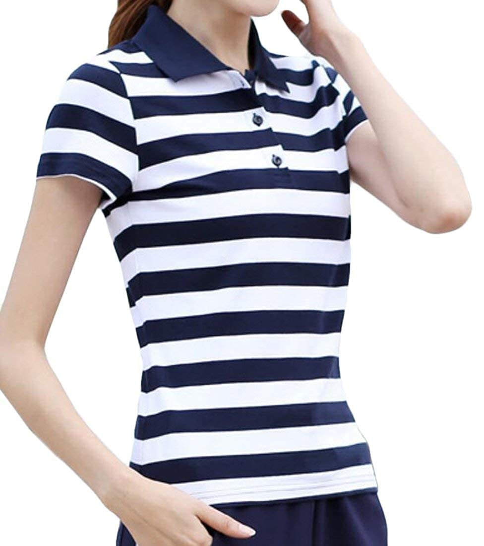 SELX-Women Short Sleeve Striped Casual Cotton Slim Fit Polo Shirt Tops