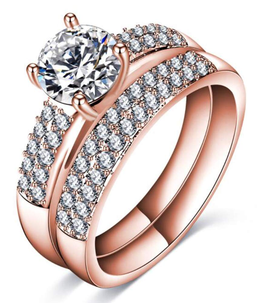 TEMEGO CZ Wedding Ring Sets,14k Rose Gold Austrian Crystal CZ Solitaire Engagement Bridal Rings,Size 7