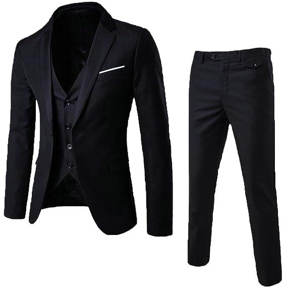 21c4aed8fe6d EKU Mens Wedding Party Suit 3-Piece Suit Blazer Jacket and Vest and Pants