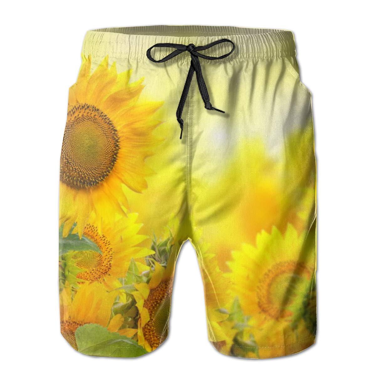 Yellow Sun Flowers Mens Quick Dry Swim Trunks Bathing Suits Beachwear