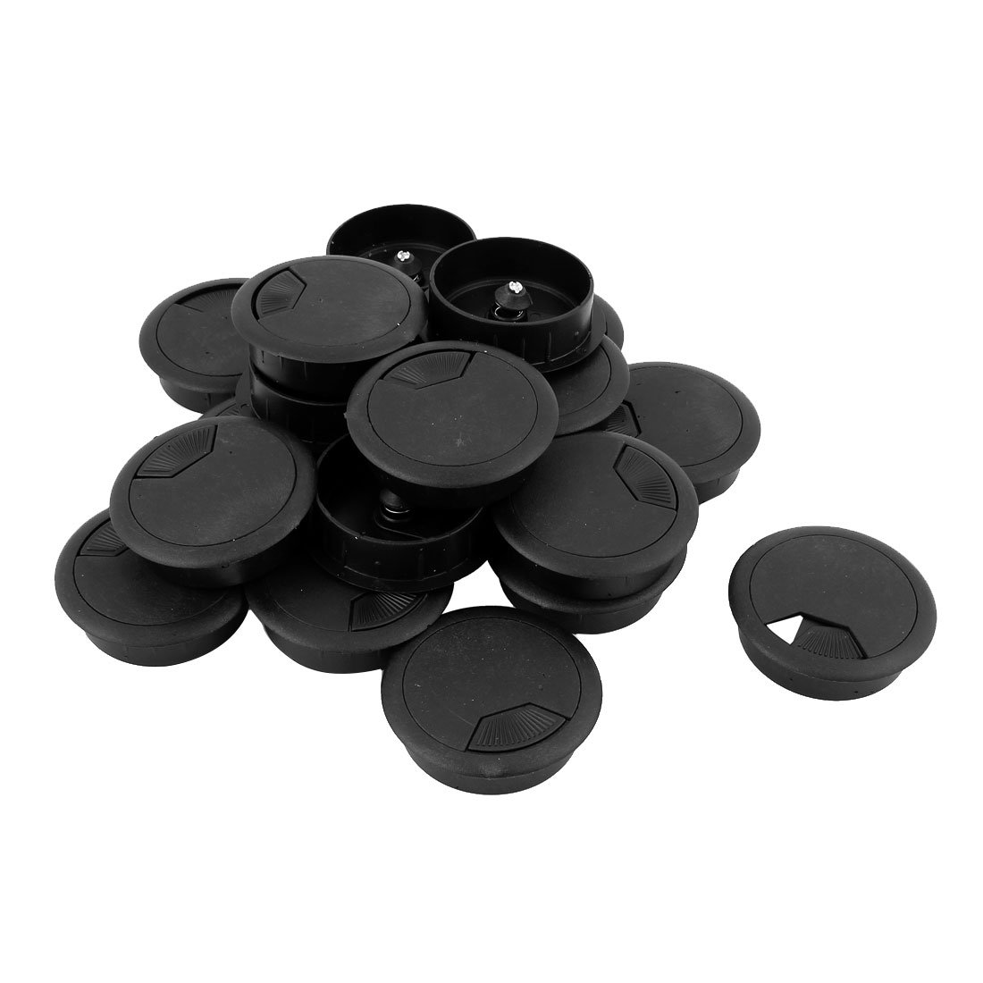 20 Pcs 50mm Black PC Computer Table Grommet Cable Tidy Wire Hole Cover