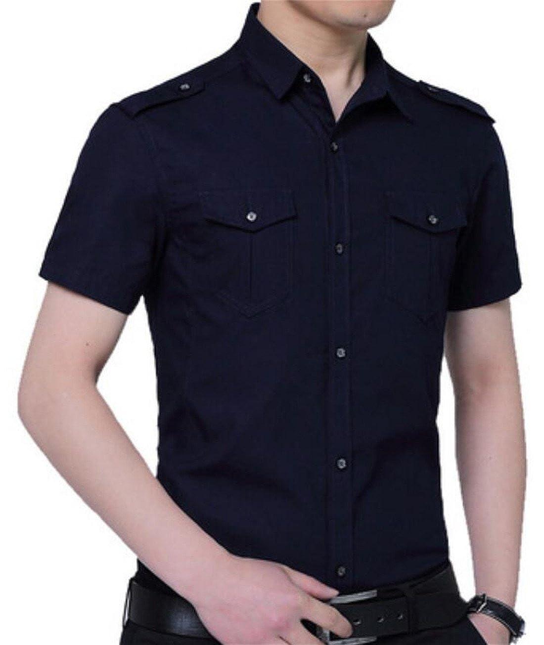 Nanquan Men NQ Mens Military Slim Fit Casual Cotton Short Sleeve Button Down Shirts