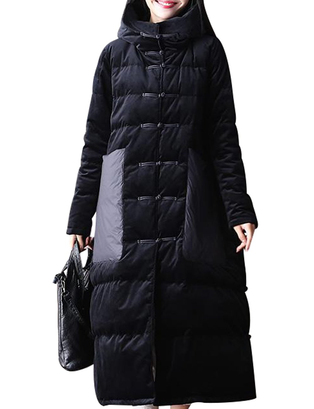 Zoulee Women's Long Maxi Chinese Frog Down Coat with Hood Front Two Pockets Style 1 Size XL