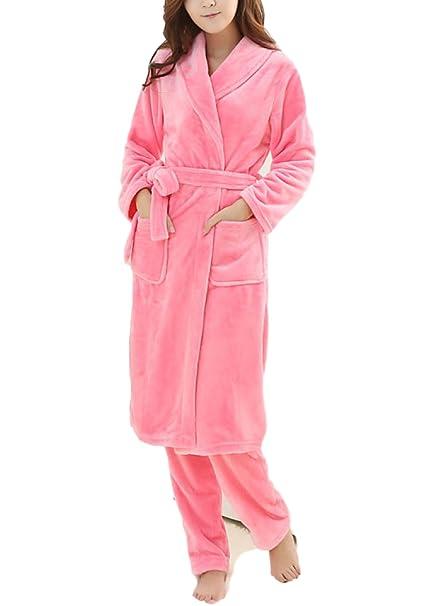 Mujer / Hombre Unisex Otoño / Invierno Franela Acogedor Inicio Albornoz Albornoz Pijamas Más Gruesa Cálido