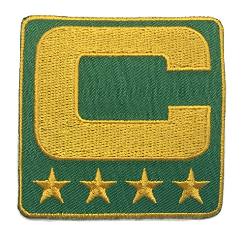 Green & Yellow Gold Captain C Patch TEAM COLOR EDITION Iron On for Jersey Football, Baseball, Soccer, Hockey, Lacrosse, Basketball
