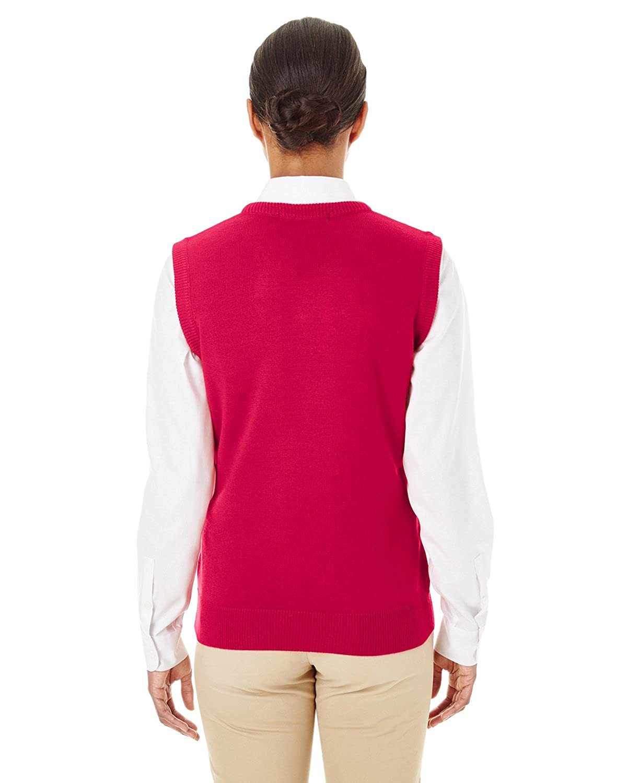 Harriton Womens Knit Neckline Pilbloc V-Neck Sweater Vest