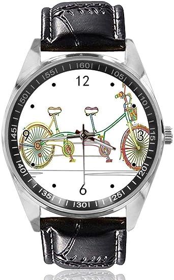 Tandem Reloj de Pulsera para Bicicleta, diseño Personalizado, analógico, de Cuarzo, Esfera Plateada, Correa de Piel clásica, Reloj para Hombre y Mujer: Amazon.es: Relojes