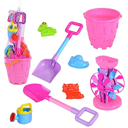 be55466317 8 Pieces Pink Beach Pail Set Sand Water Toys Set For Kids With Molds Bucket  Shovels