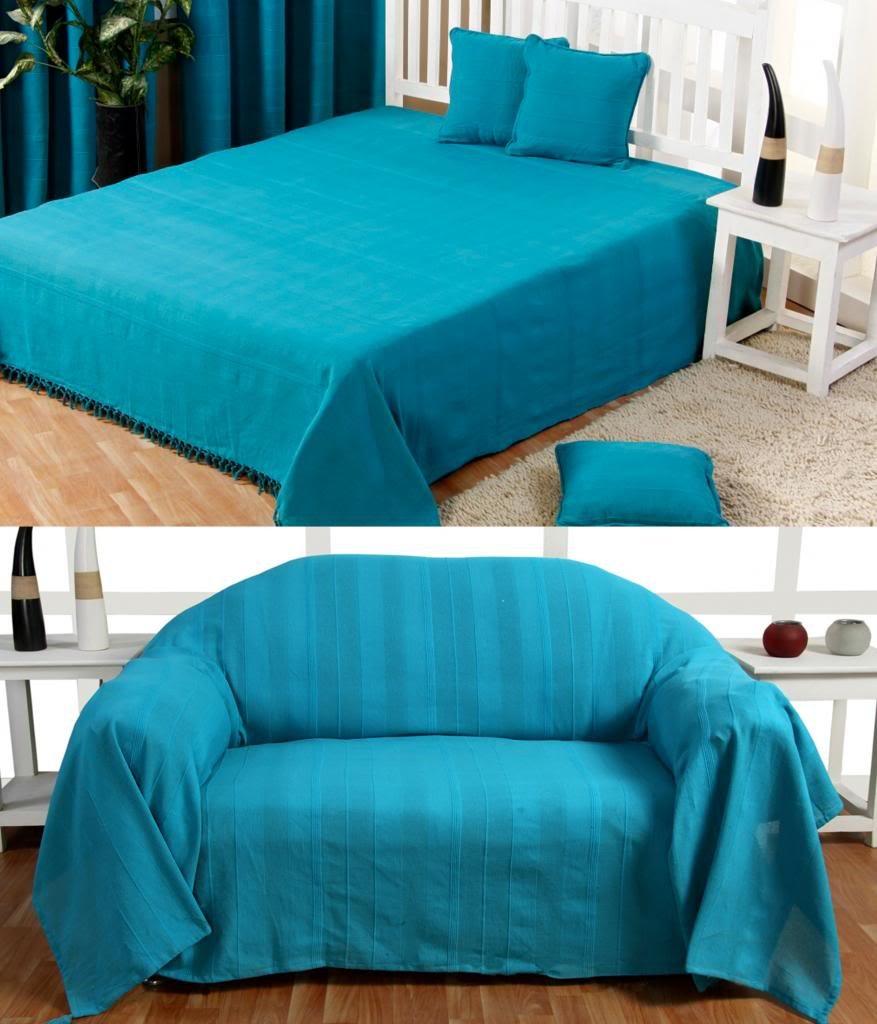 Homescapes Jeté de lit ou Jeté de canapé Turquoise 230 x 260 cm ...