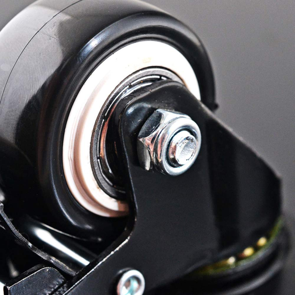 avec roulette de blocage de frein Roulettes industrielles//Noir//Comme montr/é LHJL Roulettes pour Meubles 4 pi/èces Sourdine avec roulettes /à vis Universelles