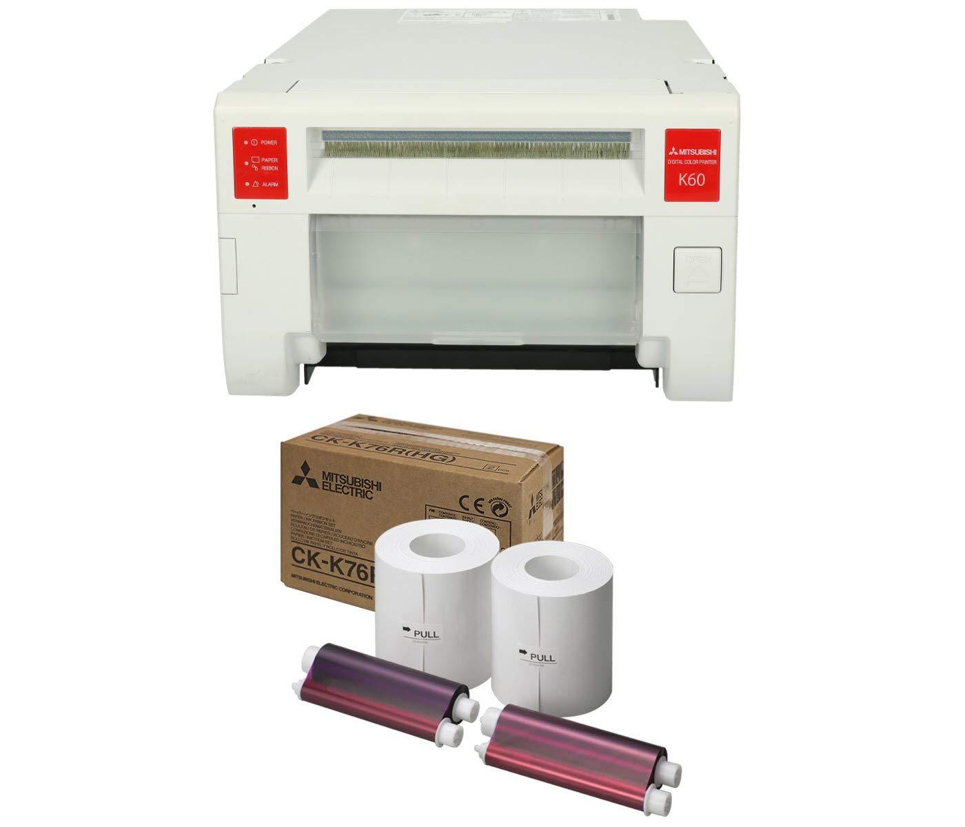 Mitsubishi CP-K60DW-S Compact Professional Event & Photo Booth Digital Dye-Sub Printer Bundle Print Media 6 inch Paper, 2 Rolls (CK-K76R-HG)
