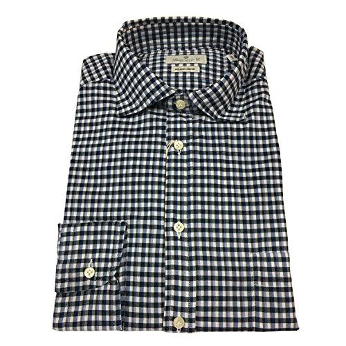 BRANCACCIO camicia uomo quadri blu/azzurro 100% cotone DOPPIO RITORTO