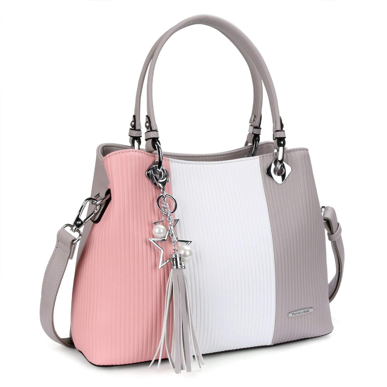 b6d819a293499 Pomelo Best Damen Handtasche Mehrfarbig gestreift Umhängetasche Shopper  Tote Henkeltasche (Groß Rosa)