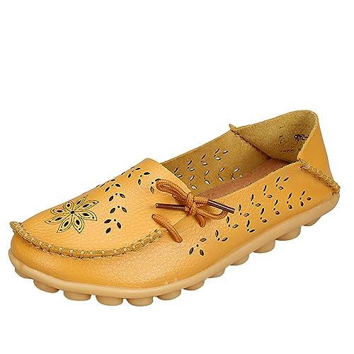 Mocasines de Cuero Mujer Loafers Casual Zapatos Zapatillas Zapatos Cómodos: Amazon.es: Zapatos y complementos