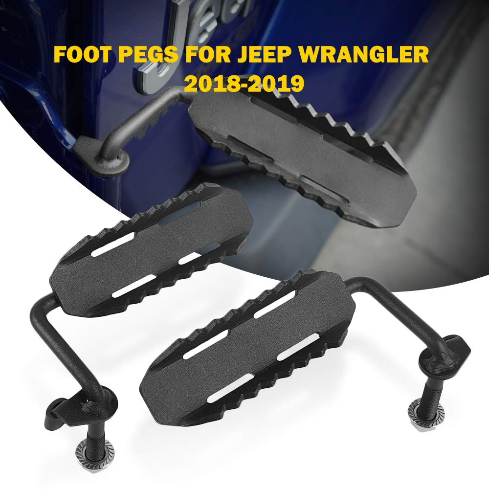 AUXMART Foot Pegs for 2018-2019 Jeep Wrangler JL Black - Pair- (C1 Style) by AUXMART (Image #7)