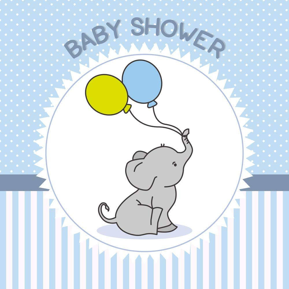 Haoyiyi 10x8ft Elephant Baby Shower Backdrop Blue and White Balloons Background White Grey Dots Striped Photography Newborn Baby Shower Bridal Shower Birthday Party Event Baptism Photo Booth