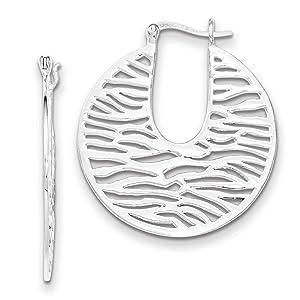 .925 Sterling Silver 42 MM Polished Round Wavy Hoop Earrings