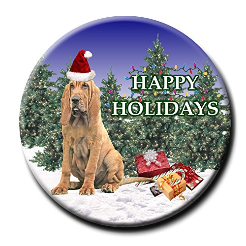 Bloodhound Christmas Holidays Pin Badge Button ()