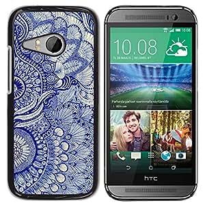 Be Good Phone Accessory // Dura Cáscara cubierta Protectora Caso Carcasa Funda de Protección para HTC ONE MINI 2 / M8 MINI // Wallpaper Blue Floral Pattern Art Native Royal