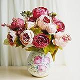HuaYang Schön Künstlich Blumen Pfingstrosen Künstliche Blume Blumenstrauß Für Hochzeit Party Fest Haus Büro Bar Dekor (Pfirsich)