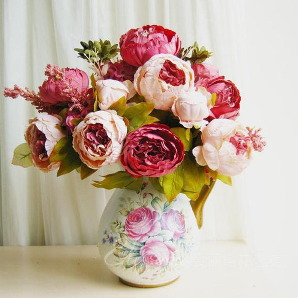 Amazon De Huayang Schon Kunstlich Blumen Pfingstrosen Kunstliche