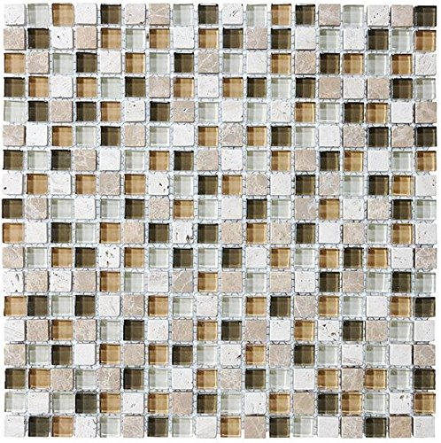 30 Square Feet - Bliss Bamboo Stone and Glass Square Mosaic Tiles