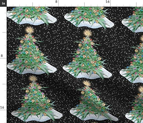 Marijuana Christmas Fabric - Cannabis Xmas Tree 8X8 Weed Festive Ganja Merry Funny Grass 420 Mary Jane Humour Print on Fabric by the Yard - Basketweave Cotton Canvas for Upholstery Home Decor