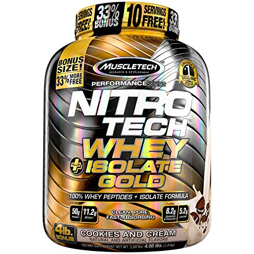 MuscleTech Nitro-Tech Whey Plus Isolate Gold, Cookies and Cream, 4 - Tech Nitro Cookies