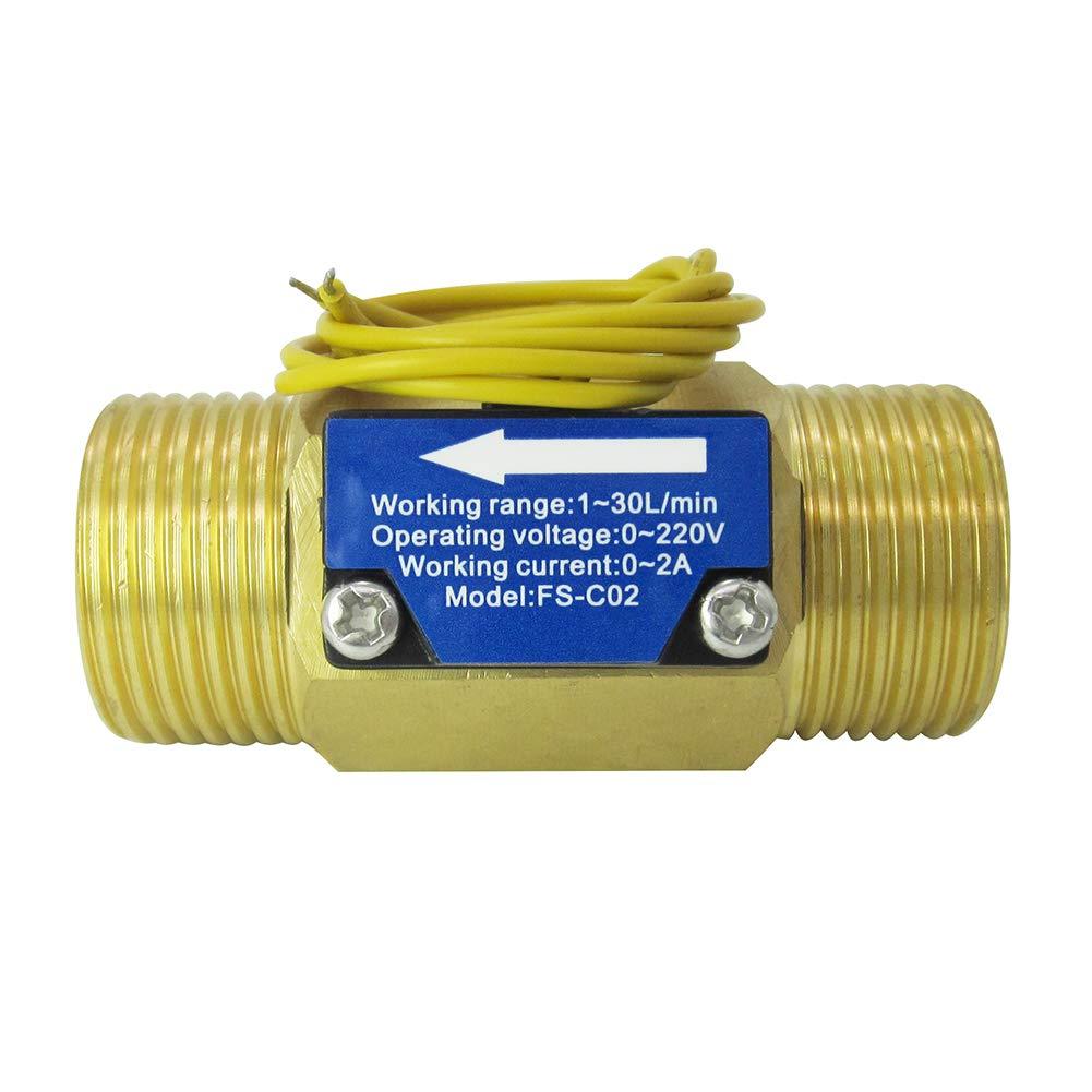 DIGITEN FS-C02 G3/4'' Male Thread Water Flow Switch 0-2A/ 0-220V(AC or DC)
