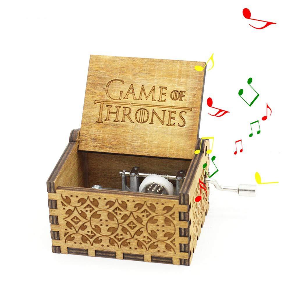 Boîte à Musique Star Wars,MOGOI Antique manivelle main sculptée en bois boîtes à musique plus beau cadeau pour Noël anniversaire